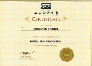 Digital Film Production certificate from SAE, Singapore