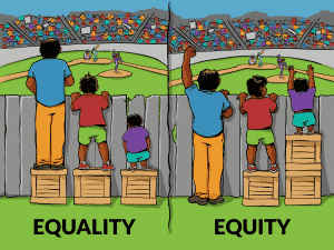 Autism ABA Therapy Lindsey Malc Side by Side Therapy Equality vs Equity Cartoon of boys trying to see over a fence.