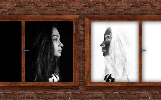 Image of a woman looking at herself with a negative reflection. Representing masking autism symptoms.