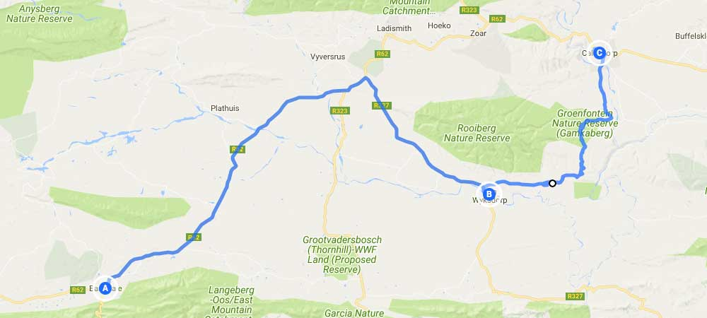Map Of Route 62 South Africa.12 Days Garden Route Tour Cape Sidecar Adventures