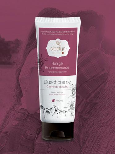 Crème de douche monarde rose apaisante avec du petit-lait de Sidefyn Cosmetics