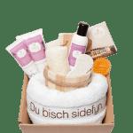 Sidefyn Geschenkset Korb mit Frottiertuch, Dusch, Schaumbad und Handcreme