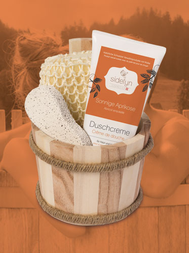 Geschenkset Holzkübel Duschcreme Aprikose