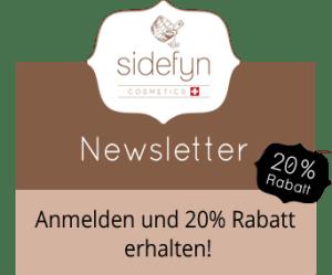 Newsletter Banner 20 Prozent Rabatt Sidefyn Cosmetics