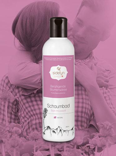 Bain moussant Prairie fleurie apaisante avec du petit-lait de Sidefyn Cosmetics