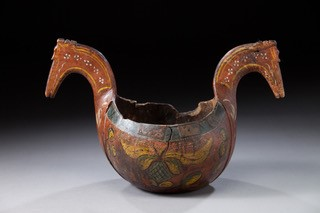 Ale bowl with horse heads (kjenge), 1850. Vesterheim Museum Collection--Gift of Esther Firth