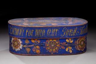 Bentwood box (bride box), 1885. Vesterheim Museum Collection--Gift of Norsk Folkemuseum