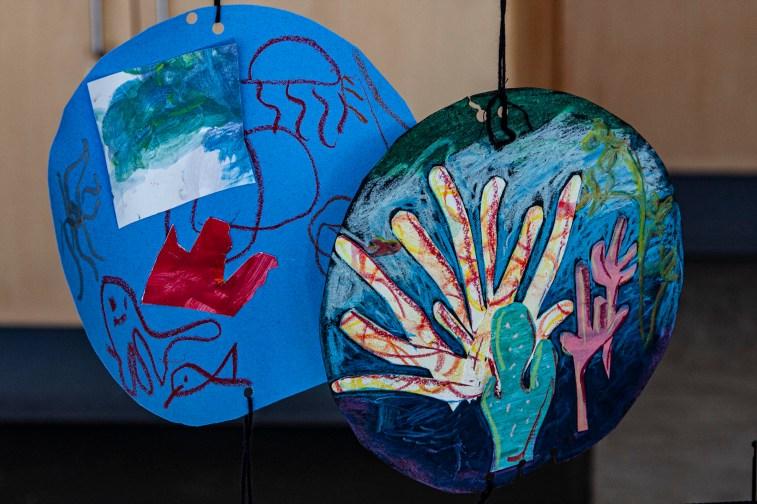 Children's art on display in the Art Studio