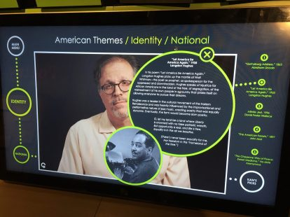 A screen in the Nation of Writers exhibit examines the theme of Identity in American literature.