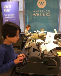 Kids discover an earlier technology used by writers—typewriters! Credit: American Writers Museum