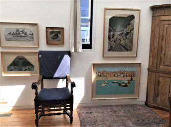 Nautical scenes by Alfred Wallis in the library area at Kettle's Yard.