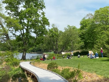 Artists still set up easels to paint by Connecticut's Lieutenant River.