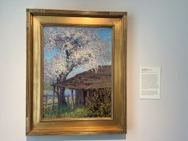 Harry Hoffman's 1909 oil painting shows the studio Impressionist Childe Hassam used during his visits to Old Lyme. The outline of the studio is marked on the museum grounds today.