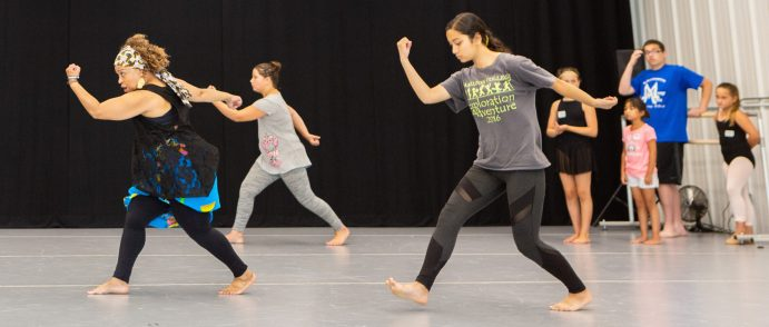 Petronio Resdiency Center Summer Dance Intensive for Ages 9-13. Photo of Elena Mosley teaching African dance. Photo by Alon Koppel.
