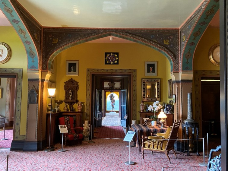 Interior arches and patterned borders are some of the Middle Eastern elements Church adapted throughout Olana's rooms.