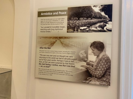 Panels and exhibits at The Mount have photos and information about Wharton's life and world, her legacy, and the house's history. This one is part of an exhibit on her humanitarian work in France during World War I.