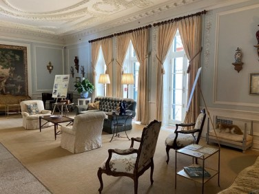 The spacious Drawing Room with its exquisite decorative plasterwork has a toy dog, a reminder that Wharton loved to have her dogs at her side.