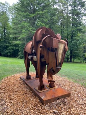 Effram, by James Burnes, is made of Corten steel and locust wood. This sculpture of a buffalo is one of 30 in 2021's SculptureNow's exhibition and sale at The Mount, on view through mid-October.