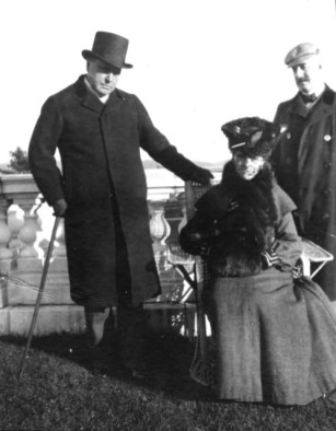 Edith Wharton entertained literary friends like novelists Henry James and Howard Sturgis, who are shown on the veranda with her at The Mount. Photo courtesy of The Mount