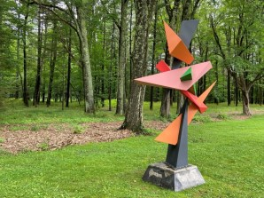 Bill Tobin's steel sculpture No Curves Need Apply is part of the SculptureNow exhibition and sale at The Mount through mid-October this year.
