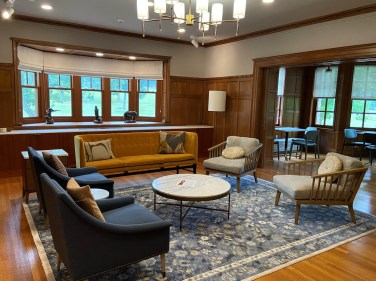 Part of the museum, the comfortably furnished rooms in the Landers House overlook Walnut Hill Park.