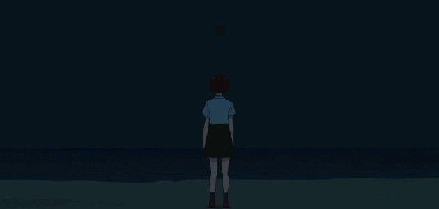 Nozomi looking up at the night sky