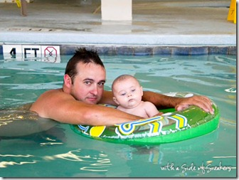 baby's first time in pool with float