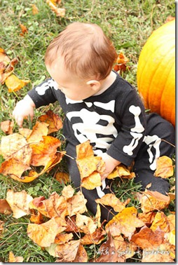 skeleton jammies in leaves