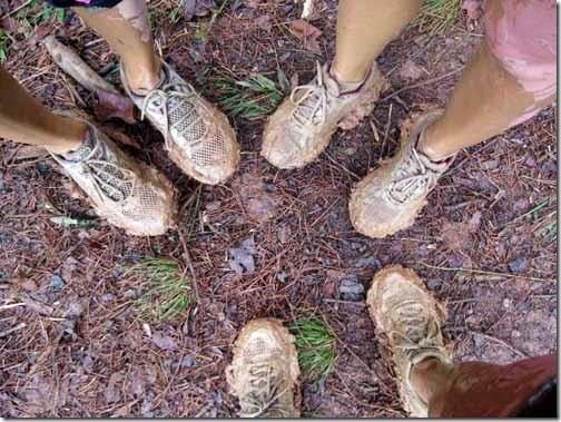 muddy running shoes from mud run