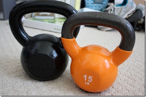 25 and 15 pound kettlebell