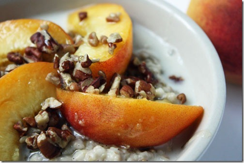 steel cut oats with peaches pecans and honey