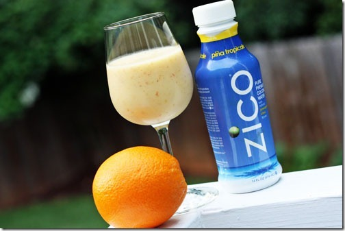 tropical smoothie with peach, banana, & zico coconut water