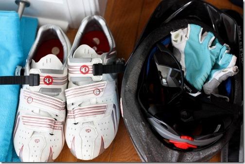 bike helmet and shoes