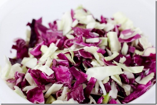 red and green shredded cabbage