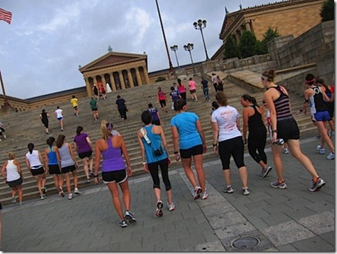 walking up the rocky steps