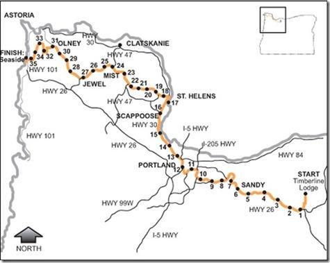 hood to coast course map