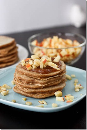 Gluten free pancakes with apple three ways