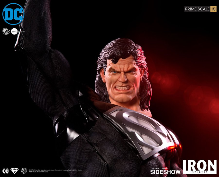 Superman Sideshow Iron Studios Statue Black Suit