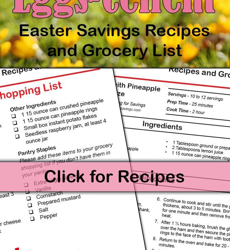 FREE Printable Easter Savings Recipes & Grocery List