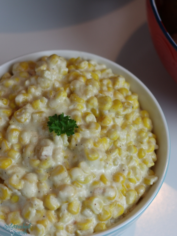 creamed corn served in bowl