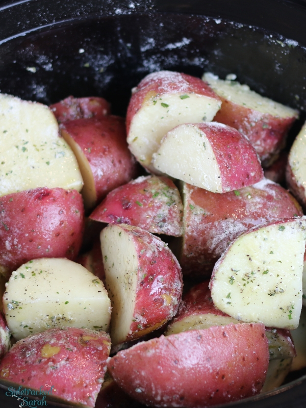 Ranch Potatoes in slow cooker before cooked
