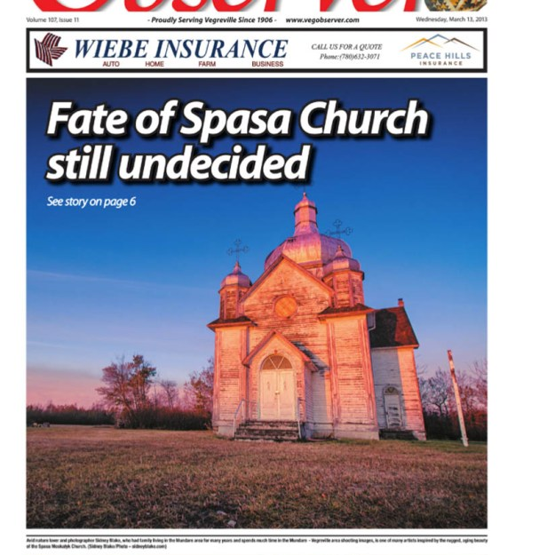 Spaca Moskalyk Vegreville Observer cover page in print, March 13th, 2013.