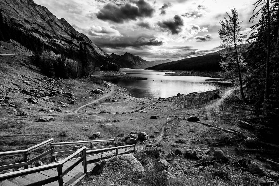 Medicine Lake, Jasper National Park, during a mid-morning rain, early autumn. Alberta landscape.