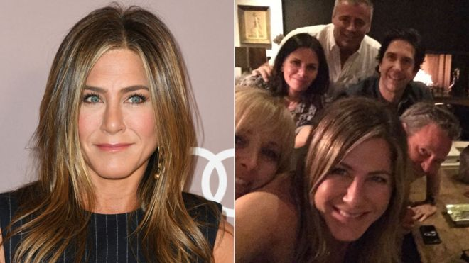 ACollage of Jennifer Aniston and and with Friends' co-casts