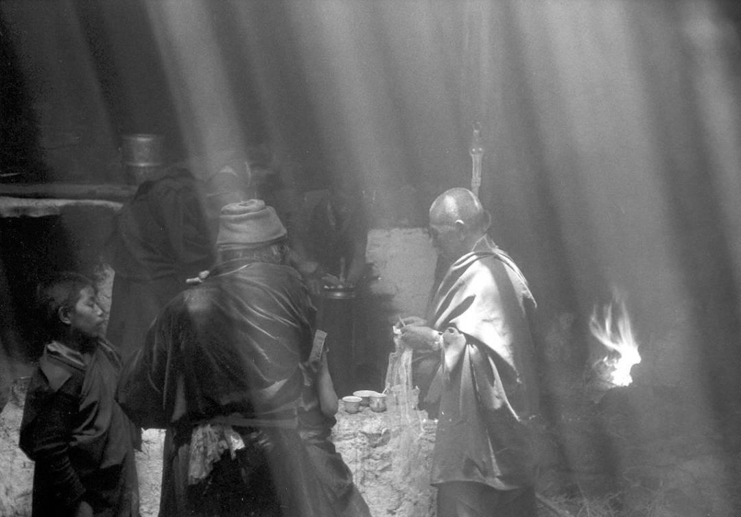 India Ladakh zwart-witfoto