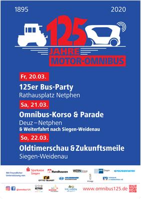 """Plakat zur Jubiläumsveranstaltung """"125 Jahre Moto-Omnibus"""""""