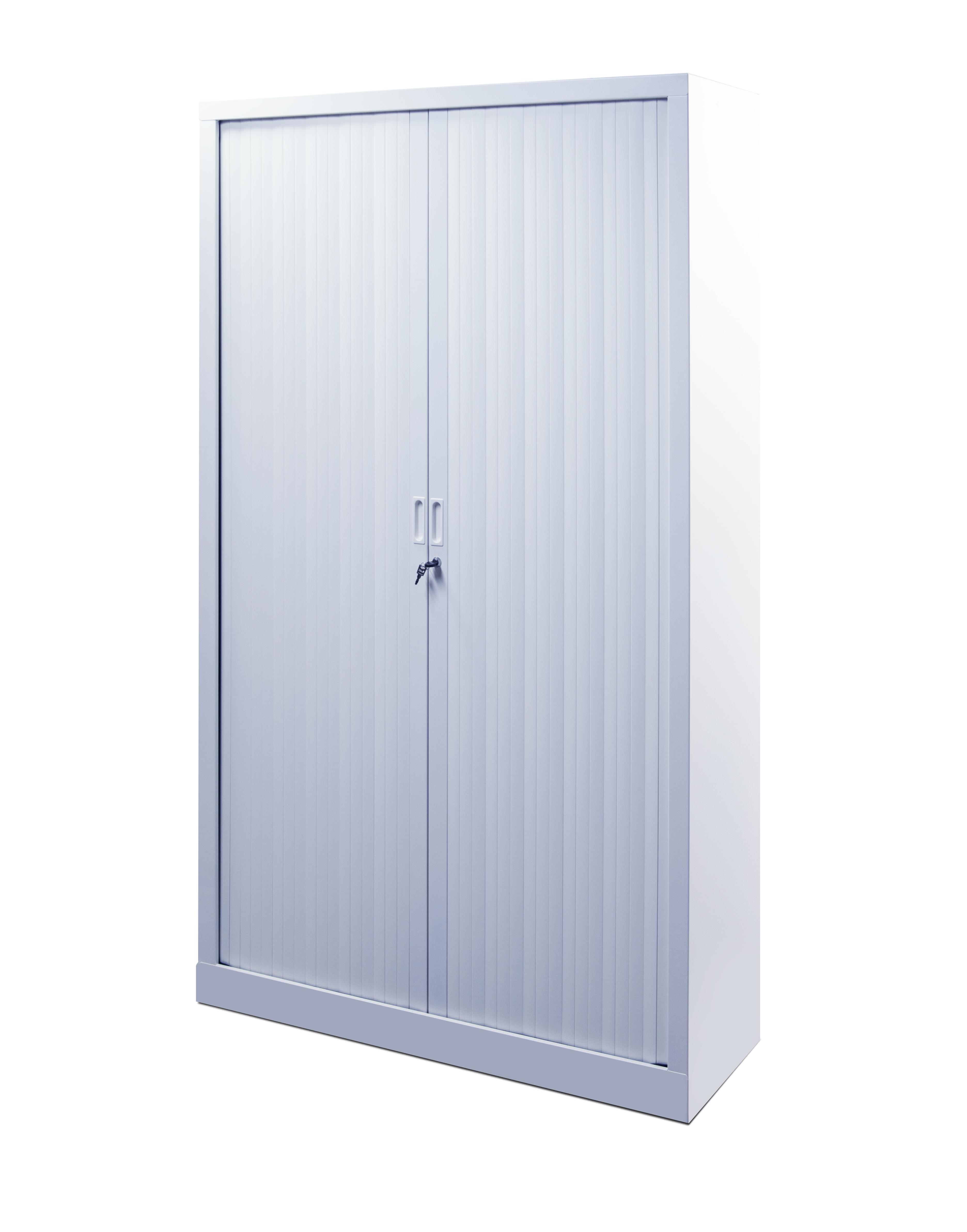 armoire metallique haute blanche avec portes coulissantes a rideaux l 100 x 198