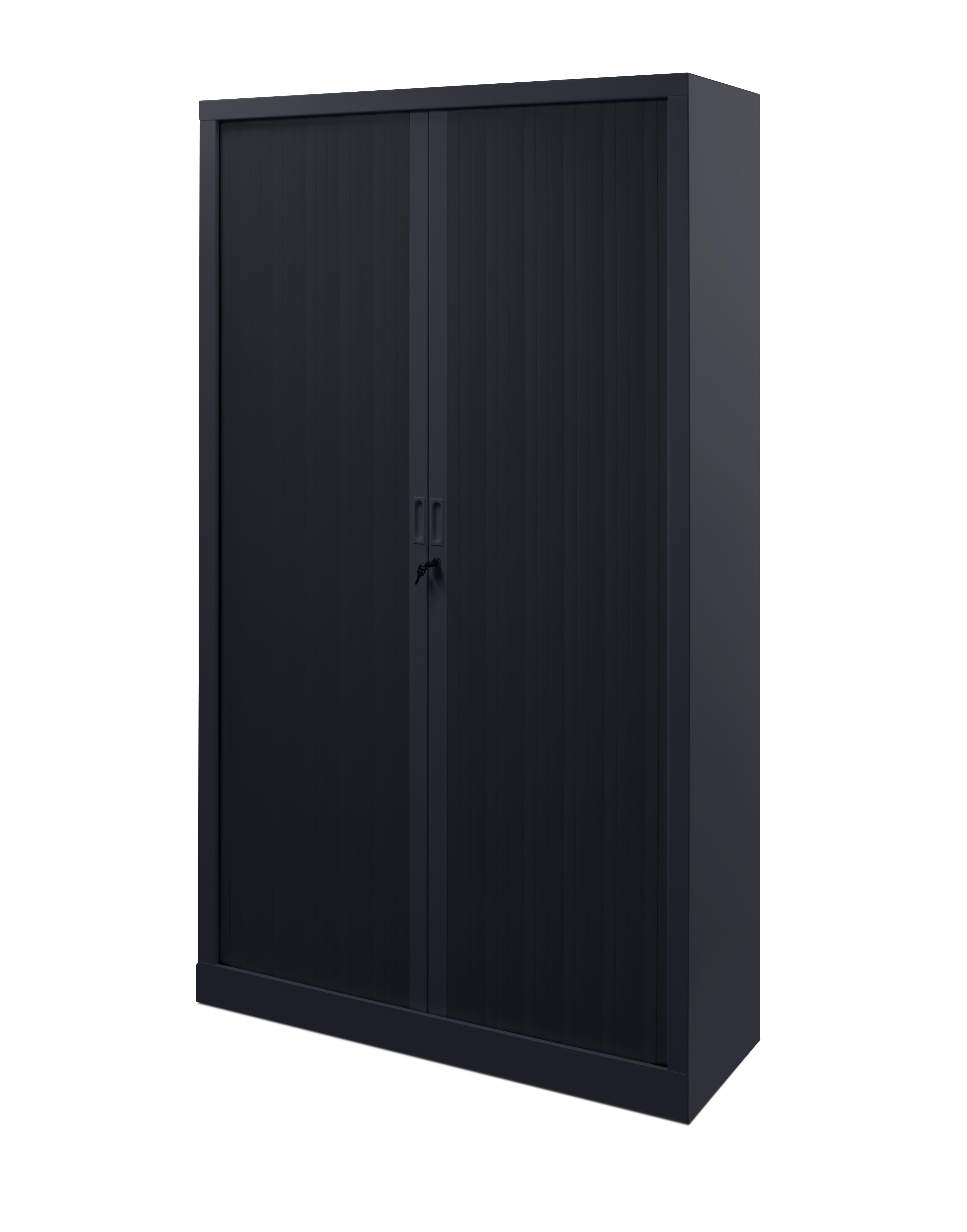 armoire metallique haute noire avec portes coulissantes a rideaux l 100 x 198