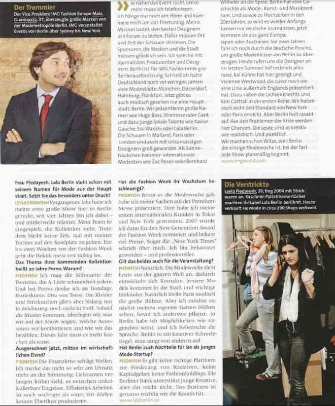 Interviews zur Fashion Week Berlin mit Michael Michalsky, Karl-Heinz Müller, Maia Guarnaccia u.a. (für Capital)