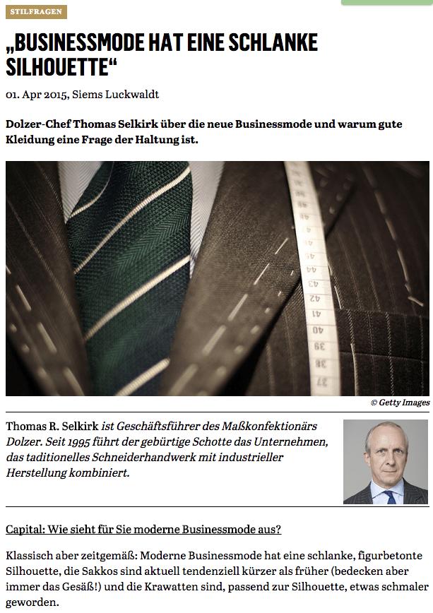Was Mann trägt: Thomas Selkirk, Dolzer (für Capital.de)